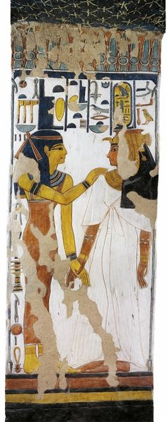 Egypt, Thebes (UNESCO World Heritage List, 1979) - Luxor - Valley of the Queens. Tomb of Nefertari. Burial chamber. Pillar. Mural paintings. Isis and queen (Dynasty 19, Ramses II, 1290-1224 BC) Digital reconstruction (QV66 - 333514)