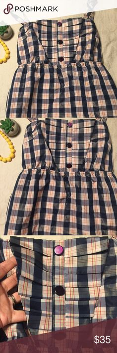 Spring time Maeve plaid dress Amazing for spring and summer time! This lovely little dress has ruffle front details, slightly gathered waist and pockets, dress is lightly lined. Small tear on the seam near the bottom, nothing a quick stitch can't fix. Anthropologie Dresses Midi