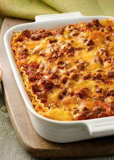 Combine two family favorites--lasagna and cheeseburgers--in an ooey-gooey good casserole! Make the night before a busy night for a heat-and-eat dinner everyone will love.