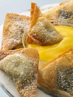 Hot Chocolate Banana Wontons with a Mango-Pineapple Dipping Sauce.