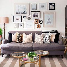 ideias e inspirações para decoração de sala com molduras e quadros.