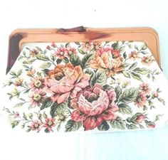 Vintage Clutch Bag Bright Roses Floral Fabric Plastic Clasp Hinged Multi Color #Unbranded #Clutch