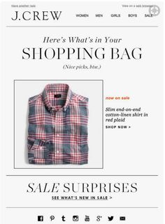 These abandoned cart email examples provide templates and examples for shopping cart recovery. Email Newsletter Design, Email Design Inspiration, Cool Picks, Email Marketing Design, Email Templates, Red Plaid, Cotton Linen, Abandoned, J Crew