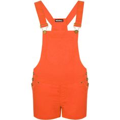 Kira Patch Pocket Dungaree Playsuit (£14) ❤ liked on Polyvore featuring jumpsuits, rompers, orange, playsuit romper and orange romper