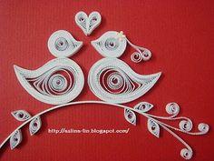 Lin Handmade Greetings Card: Wedding love birds