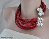 2014 Burgundy Red  Crystal Bib Necklace , Brides ,special occasion