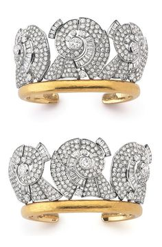 An important pair of Art Deco diamond cuffs, Suzanne Belperron, circa 1935. Each designed as a diadème, composed of three scroll motifs set with circular-, single-cut and baguette diamonds, French assay and partial maker's marks. #Belperron #ArtDeco #cuff