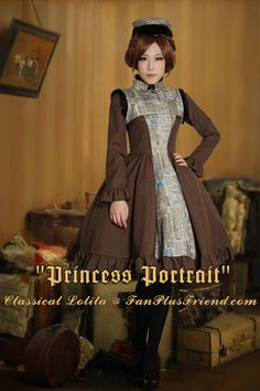 """Princess Portrait"": Classical Lolita Square Neckline Long Sleeves Dress*2color Instant Shipping"