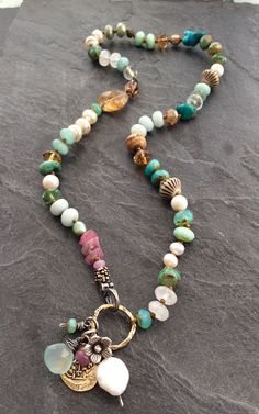 Your place to buy and sell all things handmade - Colorful multi charm necklace by mollymoojewels. A mix of semi precious beads, including moonstones - Bohemian Jewelry, Beaded Jewelry, Handmade Jewelry, Jewelry Necklaces, Jewellery Box, Bracelets, Mirror Jewellery, Tiffany Jewellery, Tribal Jewelry