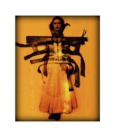 Frida Kahlo 1929 with Back Brace Original Digital Art Print 8x10 Signed Mixed Media Collage. $14.00, via Etsy.