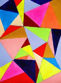 Graphic art, neon colors, geometric art, triangles, modern painting, abstract painting. $15.00, via Etsy.