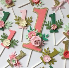 Age cake topper for smash cake. Shabby chic cake topper number one. Floral pink 1 cake topper. First birthday cake topper with flowers.