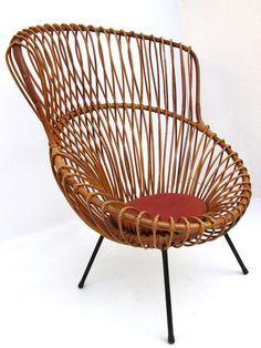 Franco Albini; Bent Rattan and Painted Metal Margherita Chair for Vittorio Bonacina, 1951.