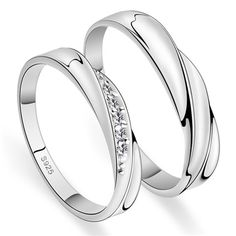 His & Hers Matching Couple CZ Sterling Silver Rings Set