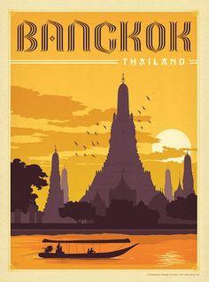 "Trademark Art ""Bangkok, Thailand"" by Anderson Design Group Framed Vintage Advertisement Size: Thai Travel, Bangkok Travel, Thailand Travel, Croatia Travel, Hawaii Travel, Italy Travel, Poster Art, Kunst Poster, Thailand Art"