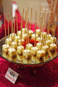 Masquerade birthday party cheesecake bites! See more party planning ideas at CatchMyParty.com!
