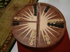 A round backgammon table
