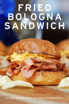 fried bologna sandwich, trader joe's brioche rolls, trader joe's pub cheese, fried bologna,