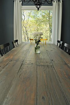 Farmhouse Table Reveal. Farmhouse table with colorful chairs!