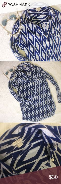 J. Crew Blue Ikat Print Tunic Lightweight Ikat print shirt from J. Crew. Perfect for summer with shorts or white skinnies or fall with leggings! No flaws. Ships same day from a smoke free home  J. Crew Tops Tunics