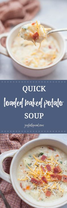 Quick soups are the best lunch or dinner option for the cooler months! Warm up with a bowl of this quick, loaded baked potato soup that is packed with veggies and toppings. This quick soup has a broth base which makes it lighter than other heavy potato soups. This lighter baked potato soup option is perfect for a hearty meal that won't weigh you down but definitely does not skimp on flavor! v