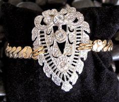 RePuRpOsED  Bracelet Bold and Beautiful Art Nouveau BRACELET in 2 -Tone by WishAnWearJewelry