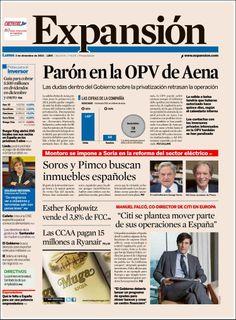 Los Titulares y Portadas de Noticias Destacadas Españolas del 2 de Diciembre de 2013 del Diario Expansión ¿Que le pareció esta Portada de este Diario Español?