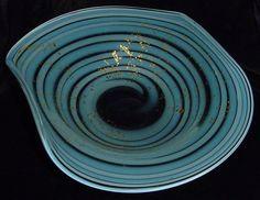 INCREDIBLE Big DINO MARTENS Aureliano Toso MURANO Glass BOWL Parallel CANES Gold #AurelianoToso