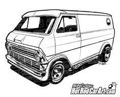 Hot Rod Car Art - 1974 Ford Econoline Van - Custom Van, $65.00 (http://www.hotrodcarart.com/1974-ford-econoline-van-custom-van/)