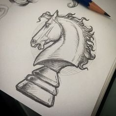 Pointless doodling.... #draw #drawing #sketch #doodle #illustration #art #horse #chess #knight #tattoo #benicia #tattooartist #pencil #pencilsketch #tattoodesign