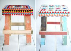 wood and wool stools with crochet Grannies Crochet, Love Crochet, Crochet Ideas, Diy Stool, Diy Bench, Step Stools, Bench Seat, Painted Furniture, Diy Furniture