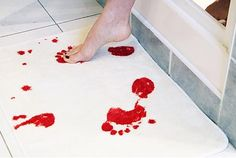 Bloody step bath mat. Turns red when it's wet.