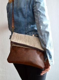 Medium Crossbody Bag, Everyday Shoulder Bag, Crossbody Purse, Messenger Vegan Bag, Fold over purse