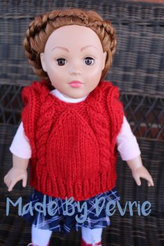 18 inch knitted doll clothes. I love these knitting patterns, because they knit up quickly and look adorable on any 18 inch doll!
