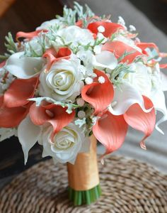 b2afd48deb2b Rustic Bridal Bouquet Coral Ivory Real Touch Flowers Calla lilies Roses  Dusty Millers baby s breath malaysia