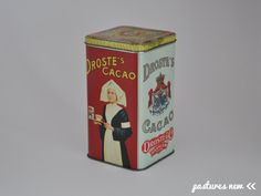 Dutch vintage tin canister Droste cocoa Netherlands door PasturesNew