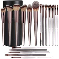 BS-MALL Makeup Brush Set 18 Pcs Premium Synthetic Foundation Powder Concealers Eye shadows Blush Makeup Brushes Champagne Gold Cosmetic Brushes with Black Paper Case - InDealShop Beauty Brushes, Best Makeup Brushes, It Cosmetics Brushes, Makeup Brush Set, Makeup Tools, Best Makeup Products, Cosmetic Brushes, Beauty Products, Mac Cosmetics
