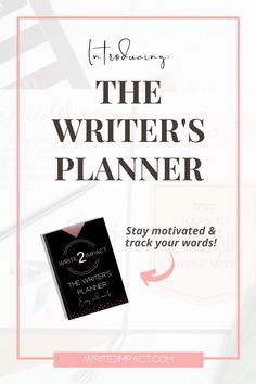 Successfully write your first (or next!) book with the help of The Writer's Planner.  It is filled with places to plan your book and track your word count, as well as weekly review questions and plenty of writing inspiration. Increase your chances of finishing your book and becoming a published author by grabbing this writing planner today!!  #writeabook #writingplanner #writinginspiration #writingsuccess
