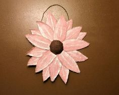 Rustic pink burlap flower wall art 24 inches