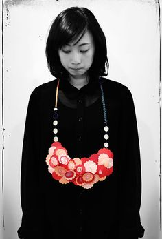 LI-CHU WU-TAIWAN - 'My Pink Garden'    Necklace Primark necklace, paper sheets, paper threads, gild wire, nail polish, acrylic paint & glue.