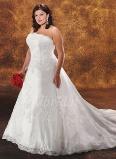A-Line/Princess Strapless Chapel Train Satin Tulle Wedding Dress With Lace Beading (00205001494)