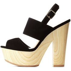 Qupid Chunky Wooden Platform Heels ($19) ❤ liked on Polyvore featuring shoes, sandals, heels, black, shoes heels, black slingback sandals, black heel sandals, chunky heel sandals, qupid sandals and black shoes