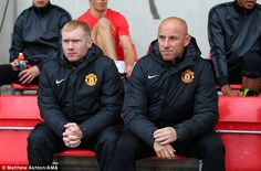 Paul Scholes (left) with Nicky Butt at the Man United UEFA Youth game on Monday
