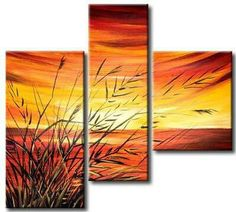 Scenic picture continuing across 3 different sized/shaped canvases Art Painting Gallery, Large Painting, Multi Canvas Art, Canvas Wall Art, Guache, Panel Art, Art Abstrait, Painting Inspiration, Cool Drawings