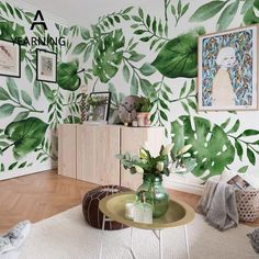 Honest Custom Photo Wallpapers Hand Painted Watercolor Tropical Leaves Birds Tv Sofa Background Wall Sticker 3d Wallpaper Beibehang Wallpapers