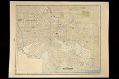 Antique Map Baltimore Maryland 1800s Original 1890