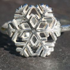 Silver Snowflake Ring Oxidized Rustic Fine by MaggieMcManeDesigns