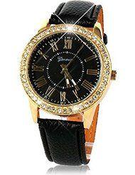 Baishitop Women Golden Bling Crystal Luxury Quartz Wrist Watch Black PU Leather Band by Baishitop