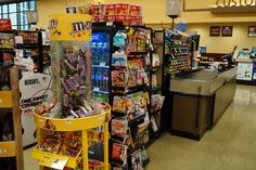 Come on, Safeway, do shoppers really need to face a tower of chocolate and a case of soda before they even reach the candy display by the cashier? (Safeway, 6/16, Falls Church, VA)