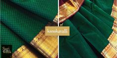 The deep, rich allure of bottle green silk forms the canvas for this gorgeous Kanakavalli Kanjivaram. We love the beautiful thread work diamond motifs on the body and arakku pallu with bands of gold zari. The array of motifs such as vines, vanki weaves, checks, diamonds and flowers woven in zari add to the grandeur of this majestic Kanjivaram. Truly an all-time winner, perfect for weddings or festivities.